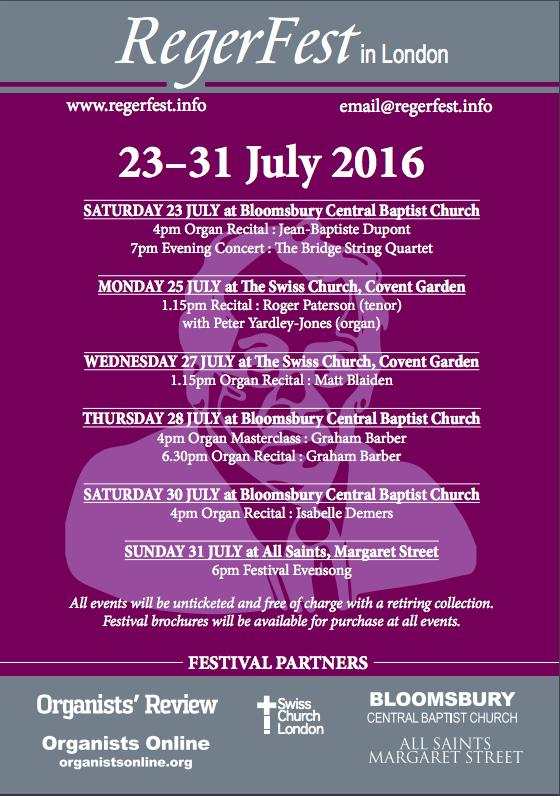 Reger-Fest London 2016